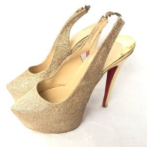 Christian Louboutin Dafsling Glitter Gold Heels 41